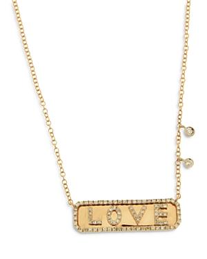 14K Yellow Gold Diamond Love Bar Necklace