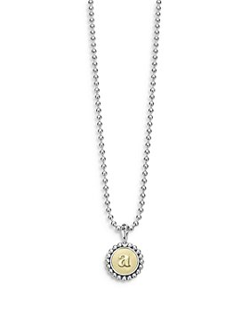 """LAGOS - Sterling Silver and 18K Yellow Gold Signature Caviar Initial Pendant Necklace, 16"""""""