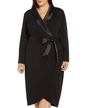 Knit Crepe Tuxedo Wrap Dress