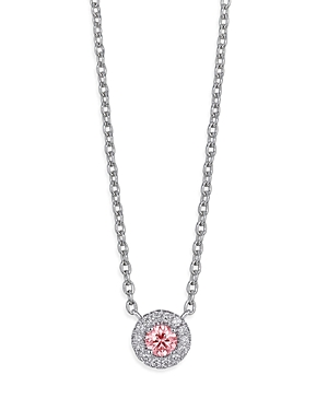 Lab-Grown Diamond Halo Pendant Necklace in Sterling Silver