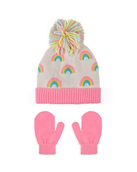 Capelli - Girls' 2 Pc. Rainbow Print Hat & Mittens Set - Baby, Toddler