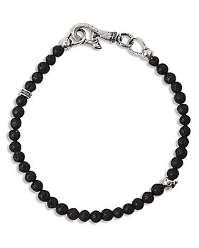 John Varvatos Collection - Lava Beads & Brass Skull Bracelet