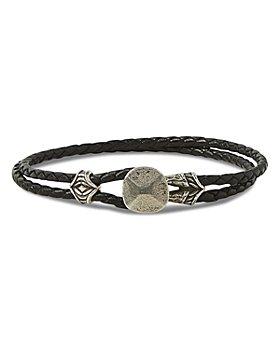 John Varvatos Collection - Men's Sterling Silver & Leather Rivet Braided Bracelet
