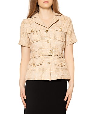 Tweed Half Sleeve Jacket with Front Pockets & Belt (46% off)