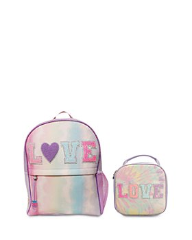 OMG Accessories - Girls' 2 Pc. Set LOVE Tie Dye Large Backpack & Lunch Bag