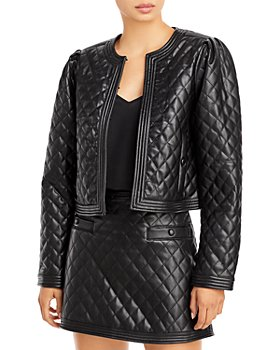 AQUA - Faux Leather Quilted Jacket