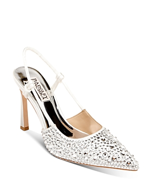 Women's Maine Pointed Toe Embellished Slingback High Heel Pumps