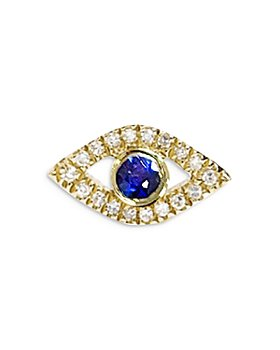 Meira T - 14K Yellow Gold Blue Sapphire & Diamond Evil Eye Single Stud Earring