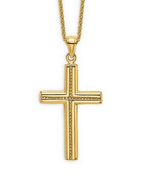 """Bloomingdale's - Men's Beaded Cross Pendant Necklace in 14K Yellow Gold, 20"""" - 100% Exclusive"""