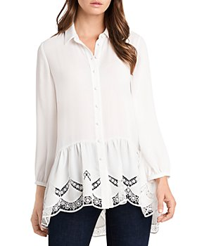 VINCE CAMUTO - Lace Inset Tunic Blouse