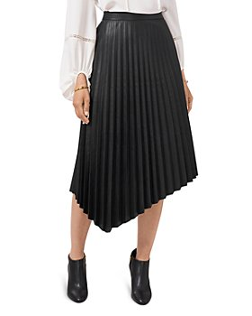 VINCE CAMUTO - Pleated Faux Leather Skirt