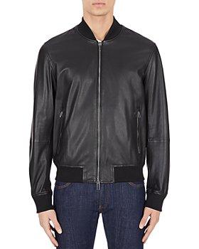 Armani - Slim Fit Leather Bomber Jacket