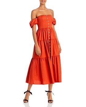 STAUD - Elio Off-the-Shoulder Midi Dress