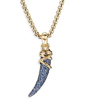 David Yurman - 18K Yellow Gold Tusk Amulet with Blue & Violet Sapphires