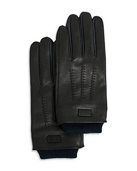 Ted Baker - Leather Gloves With Ribbed Cuff