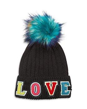 Jocelyn - Love Knit Hat with Faux Fur Pom Pom