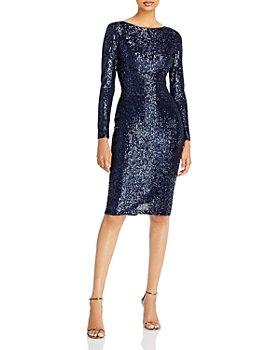 AQUA - Long Sleeve Sequin Shift Dress - 100% Exclusive