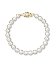 Bloomingdale's - Cultured Akoya Pearl Bracelet in 14K Yellow Gold, 6.5mm - 100% Exclusive