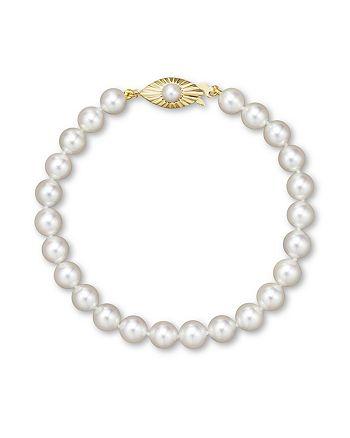 Bloomingdale's - Cultured Akoya Pearl Bracelet in 14K Yellow Gold, 6.5mm- 100% Exclusive