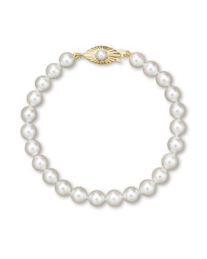 Cultured Akoya Pearl Bracelet in 14K Yellow Gold, 6.5mm