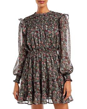 AQUA - Floral Smocked Dress - 100% Exclusive