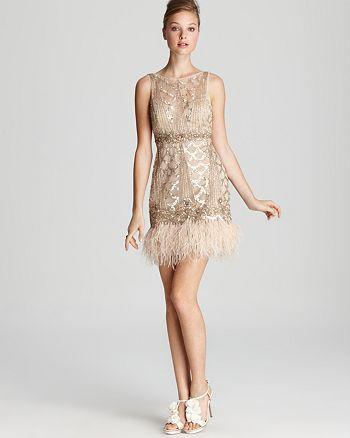 Sue Wong - Open Back Feather Hem Dress