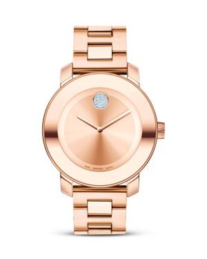 Movado Bold Medium Rose Gold Plated Stainless Steel Watch, 36mm
