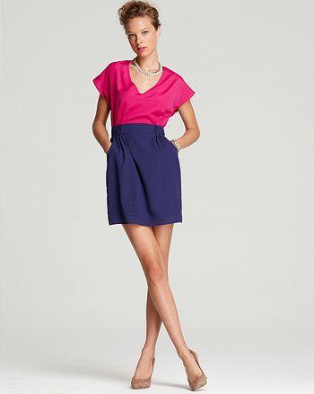 AQUA - V Neck Color Block Dress - 100% Exclusive