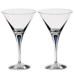 Orrefors Intermezzo Blue Set of 2 Martini Glasses