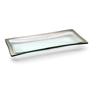 Annieglass Roman Antique Platinum Olive Tray
