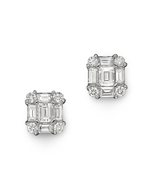 Diamond Emerald-Cut Earrings in 14K White Gold, .85 ct. tw. - 100% Exclusive-Jewelry & Accessories