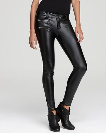 Parker - Faux Leather Pants with Zips