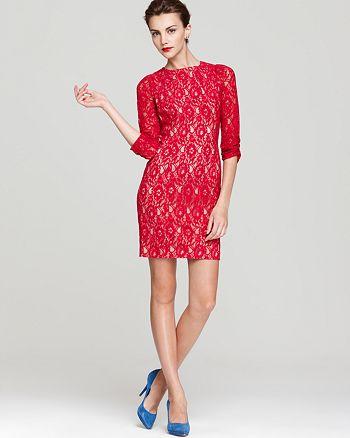 Aidan by Aidan Mattox - Aqua Lace Dress - Three Quarter Sleeve - 100% Exclusive