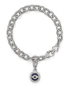 Judith Ripka - Judith Ripka Evil Eye Charm Link Bracelet with White, Black and Blue Sapphires