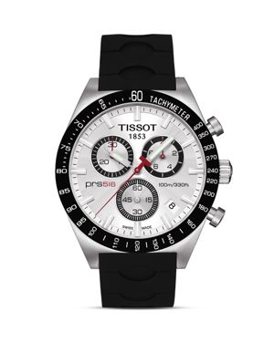 TISSOT PRS516 MEN'S SILVER QUARTZ CHRONOGRAPH SPORT WATCH, 42MM