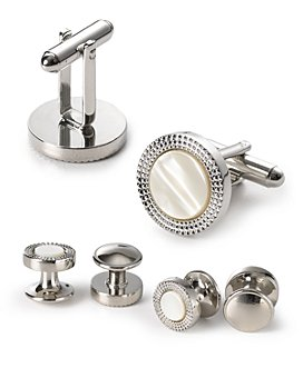 The Men's Store at Bloomingdale's - Engraved Circle Stud & Cufflink Set - 100% Exclusive