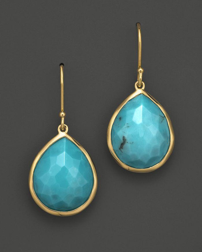 Ippolita 18k Gold Rock Candy Teardrop Earrings In Turquoise