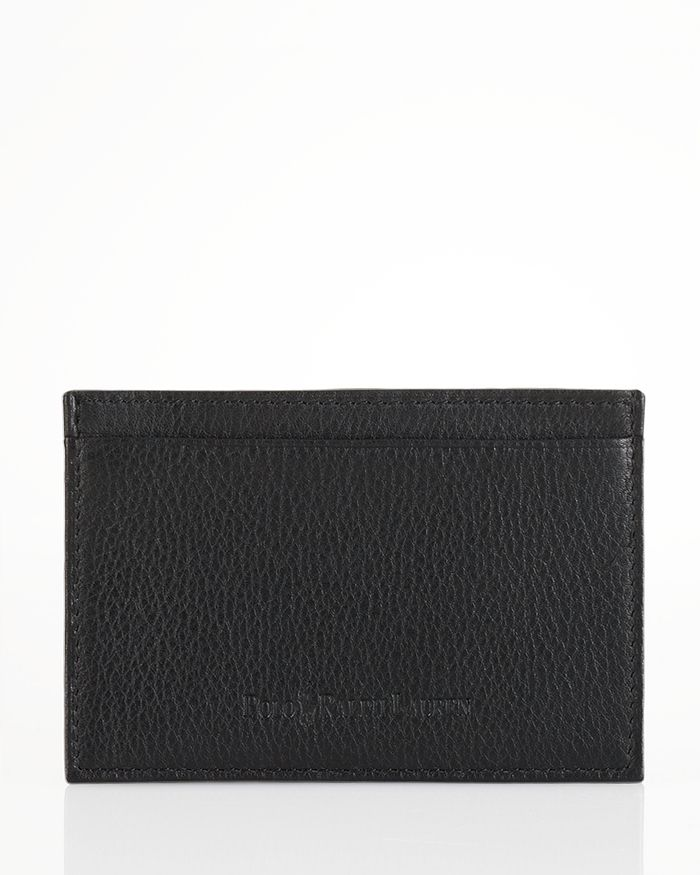 Polo Ralph Lauren Pebbled Leather Slim Card Case In Black