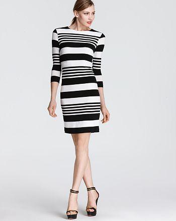 Karen Kane - Three Quarter Sleeve Stripe Dress