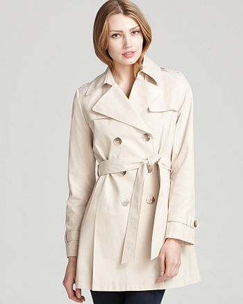 DKNY - Double Breasted Trench with Pleats