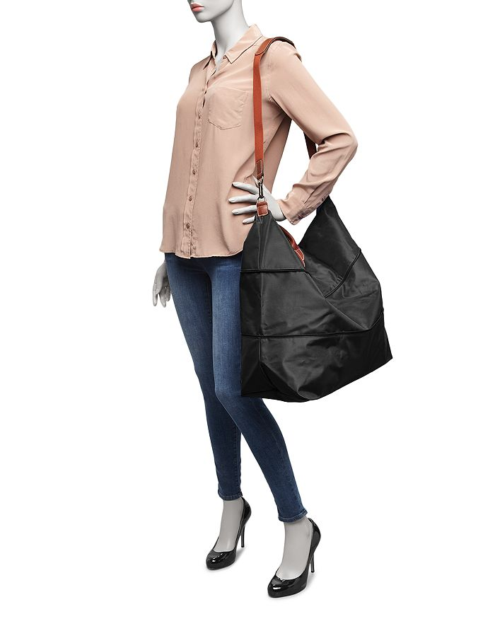 5d49080f4438 Longchamp Le Pliage Expandable Travel Duffel Nylon Weekender In Fig/Gold