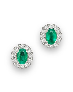 Emerald and Diamond Oval Stud Earrings in 14K White Gold - 100% Exclusive - Bloomingdale's_0
