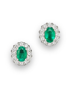 Bloomingdale S Emerald And Diamond Oval Stud Earrings In 14k White Gold