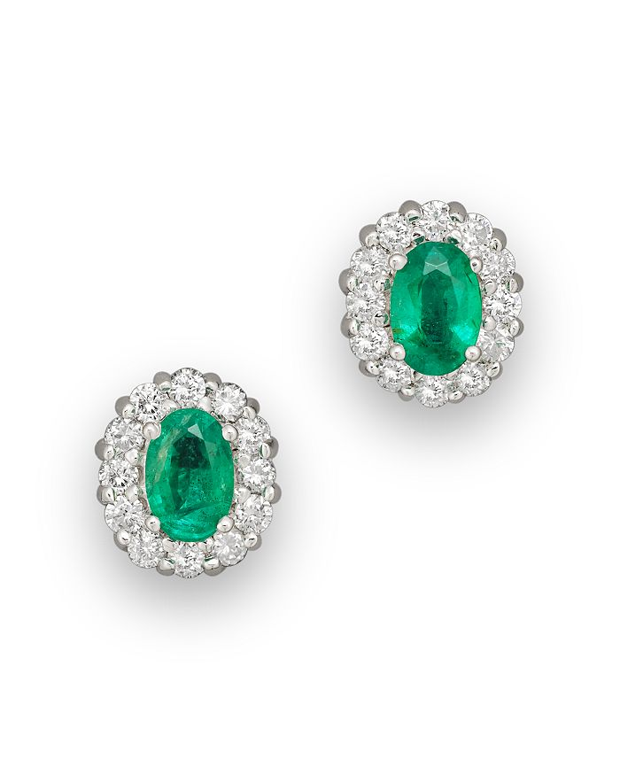 Bloomingdale's - Emerald and Diamond Oval Stud Earrings in 14K White Gold, .45 ct. t.w. - 100% Exclusive