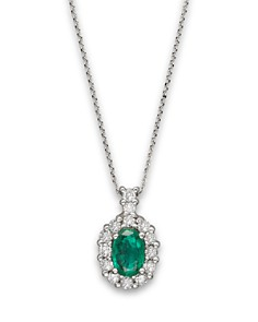 Bloomingdale's - Emerald and Diamond Oval Pendant in 14K White Gold, .25 ct. t.w. - 100% Exclusive
