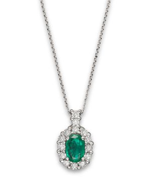 Emerald and Diamond Oval Pendant in 14K White Gold - 100% Exclusive
