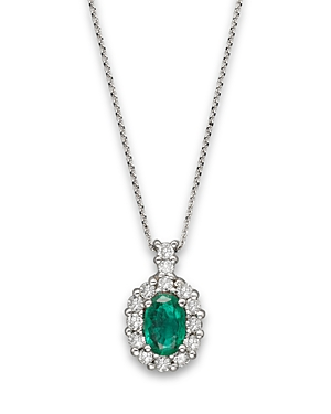 Emerald and Diamond Oval Pendant in 14K White Gold - 100% Exclusive-Jewelry & Accessories