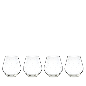 kate spade new york Larabee Dot Stemless Red Wine Glasses, Set of 4