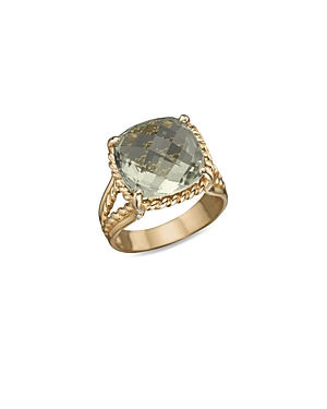 14K Yellow Gold Green Amethyst Ring - 100% Exclusive