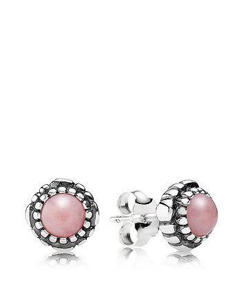 Pandora - Sterling Silver & Pink Opal Birthday Blooms October Stud Earrings
